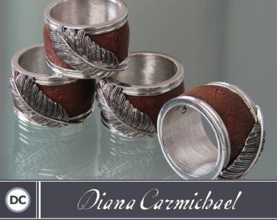 Diana Carmichael - Napkin Rings Usiba (4) Saddle Brown
